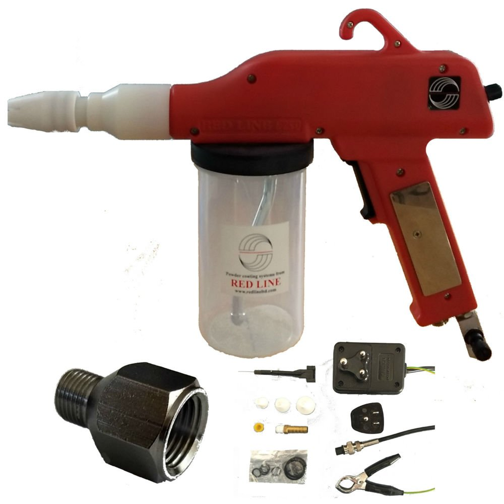 Powder Coating Gun by Redline Model EZ50 with Bonus Powder Cup Kit and U.S.A. Power and Airline Adapters by Red Line-PCP (Image #2)