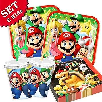 Super Mario Juego de decoración para cumpleaños con vajilla ...