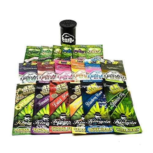 Bundle - 19 Items - Hemp Wrap Sampler (6 Flavors Each of Kingpin, Juicy and Twisted) Hemp Wraps with KC Pop Top