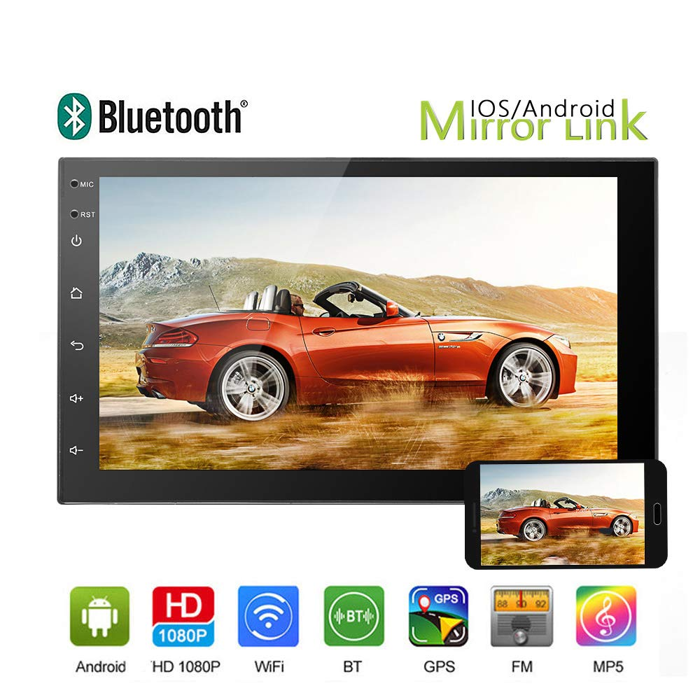 "Car Stereo-Android 6.0 Double Din 7"" Touch Screen Car Audio Support Mirron Link, GPS Navigation, Bluetooth Radio, Video/Audio Playback and DVR Inpute by Podofo"