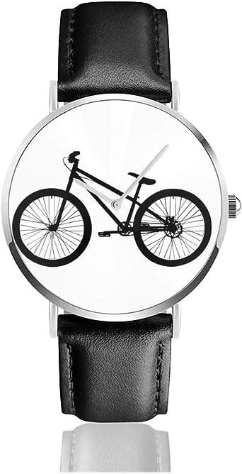 Reloj de Pulsera de Cuarzo analógico con Esfera de Bicicleta de montaña, Correa de Piel sintética de Color Negro, Estilo Vintage, para Mujer: Amazon.es: Relojes