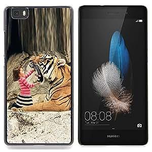 """Qstar Arte & diseño plástico duro Fundas Cover Cubre Hard Case Cover para Huawei Ascend P8 Lite (Not for Normal P8) (Tiger Niña linda que juega Madre Mamá"""")"""