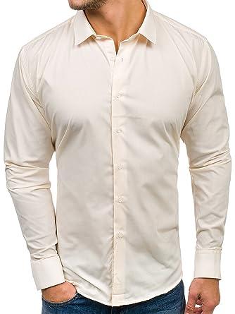 BOLF Herren Hemd mit Knopfleiste LAVIINO TS100 Ecru S [2B2]