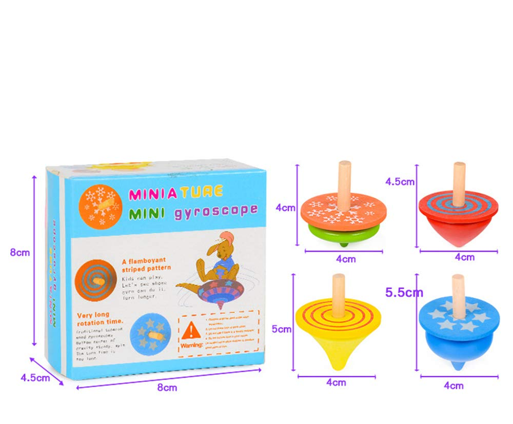 Geloo Gyroscope, 3 Pcs/Set Handmade Painted Wood Spinning Tops, Wooden Toys Educational Toys Kindergarten Toys Standard Tops by Geloo (Image #2)