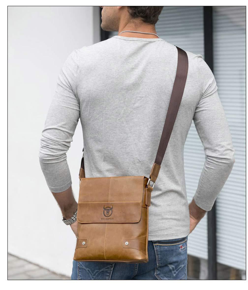 Coffee BULLCAPTAIN 2018 Men Briefcase Genuine Leather Man Crossbody Shoulder Bag Business Bags Cowhide Messenger Leather Bags