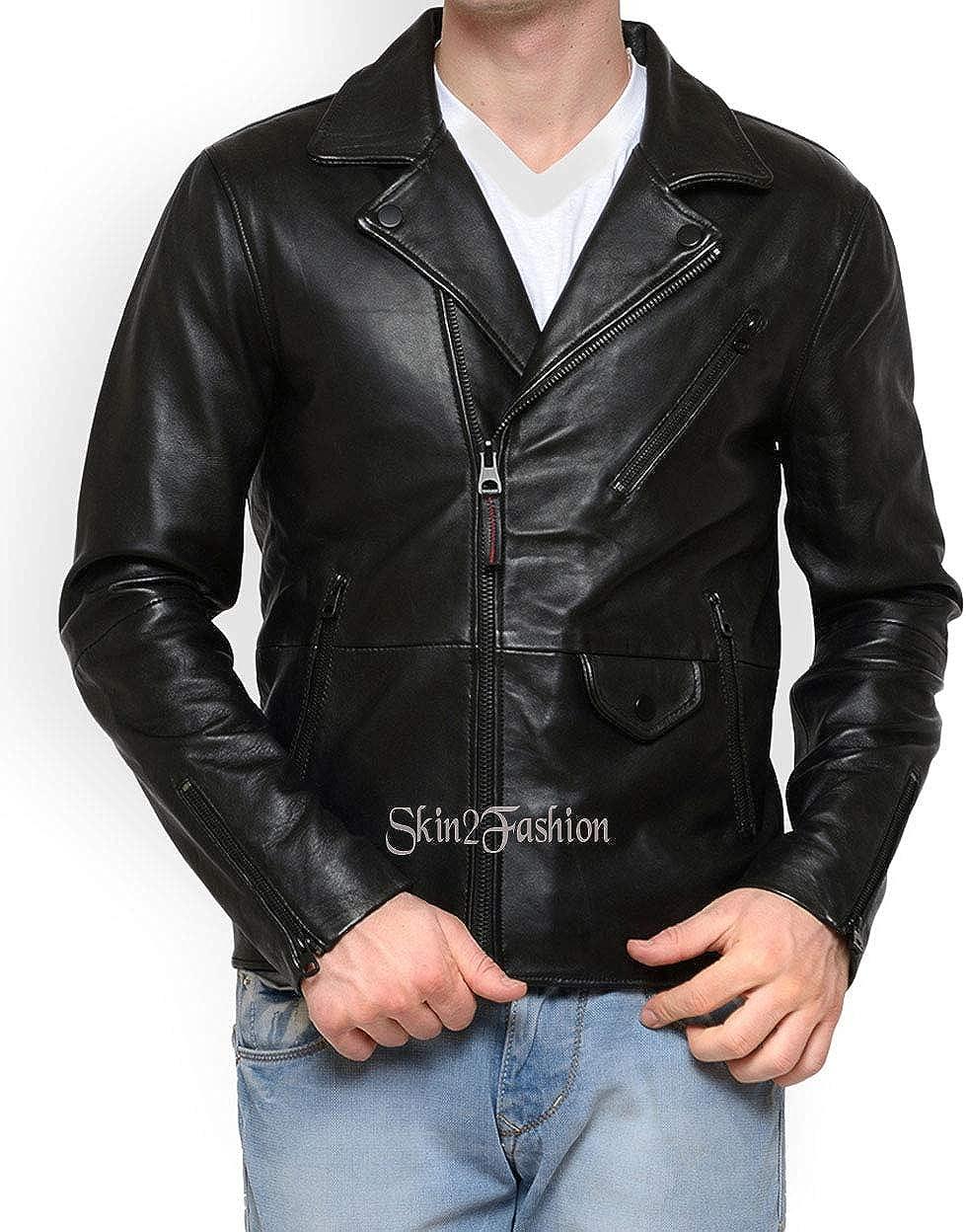 Mens Leather Jackets Motorcycle Bomber Biker Genuine Lambskin 495