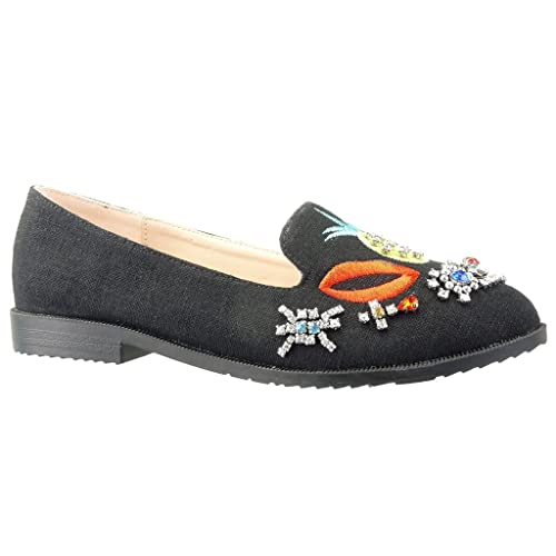 Angkorly Zapatillas Moda Mocasines Slip-On Suela de Zapatillas Mujer Bordado Joyas Fantasía Tacón Ancho 2 cm: Amazon.es: Zapatos y complementos