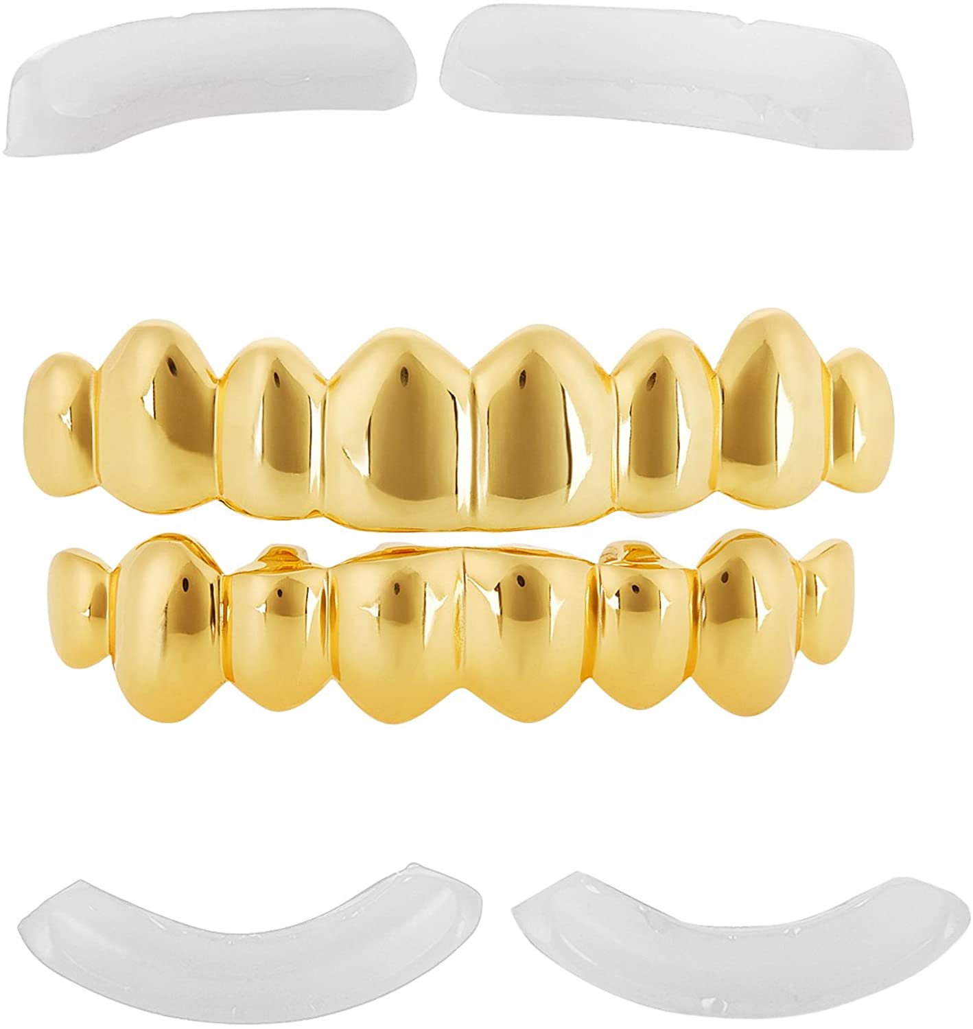 Polished 0.16 mils (4 microns) 14k Yellow Gold Plated Silver Top & Bottom Grillz Set + Jewelry Cloth & Pouch