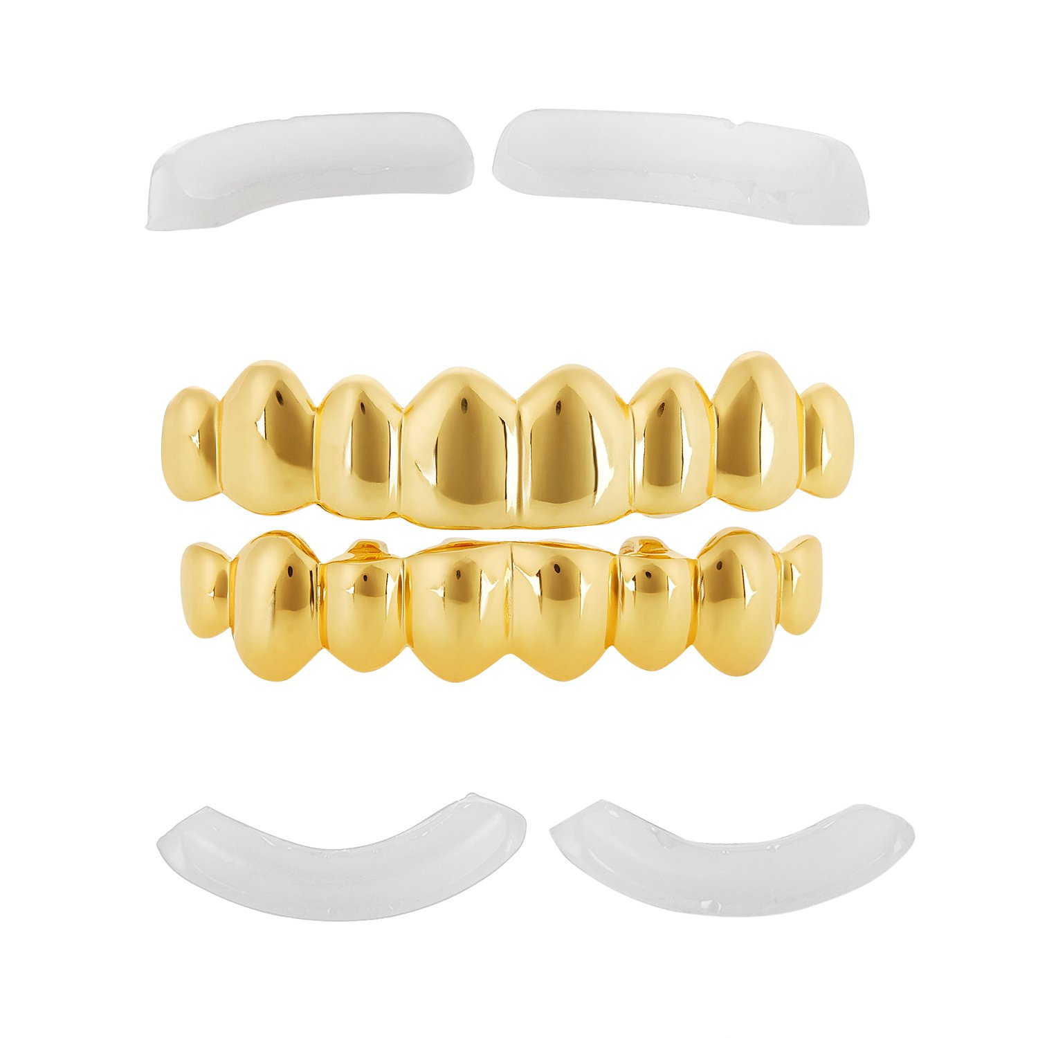 24k Gold Plated Over Solid .925 Silver Top & Bottom Removable Teeth Grillz Set by The Bling Factory