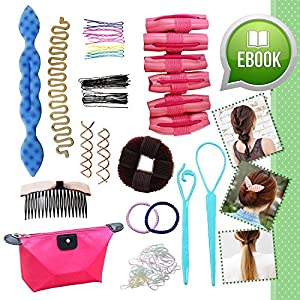 Ultimate Hair Styling Tools Accessories DIY Kit Set BONUS eBook for Teens Girls Women