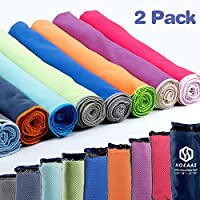 HOEAAS Microfiber Sport Travel Towel Set-(SIZE:S, M, L, XL, XXL)- Quick Dry, Super Absorbent, Ultra Compact Towels-Fit for Beach Yoga Golf Gym Camping Backpacking Hiking+Hand Towel & Carry Pouch