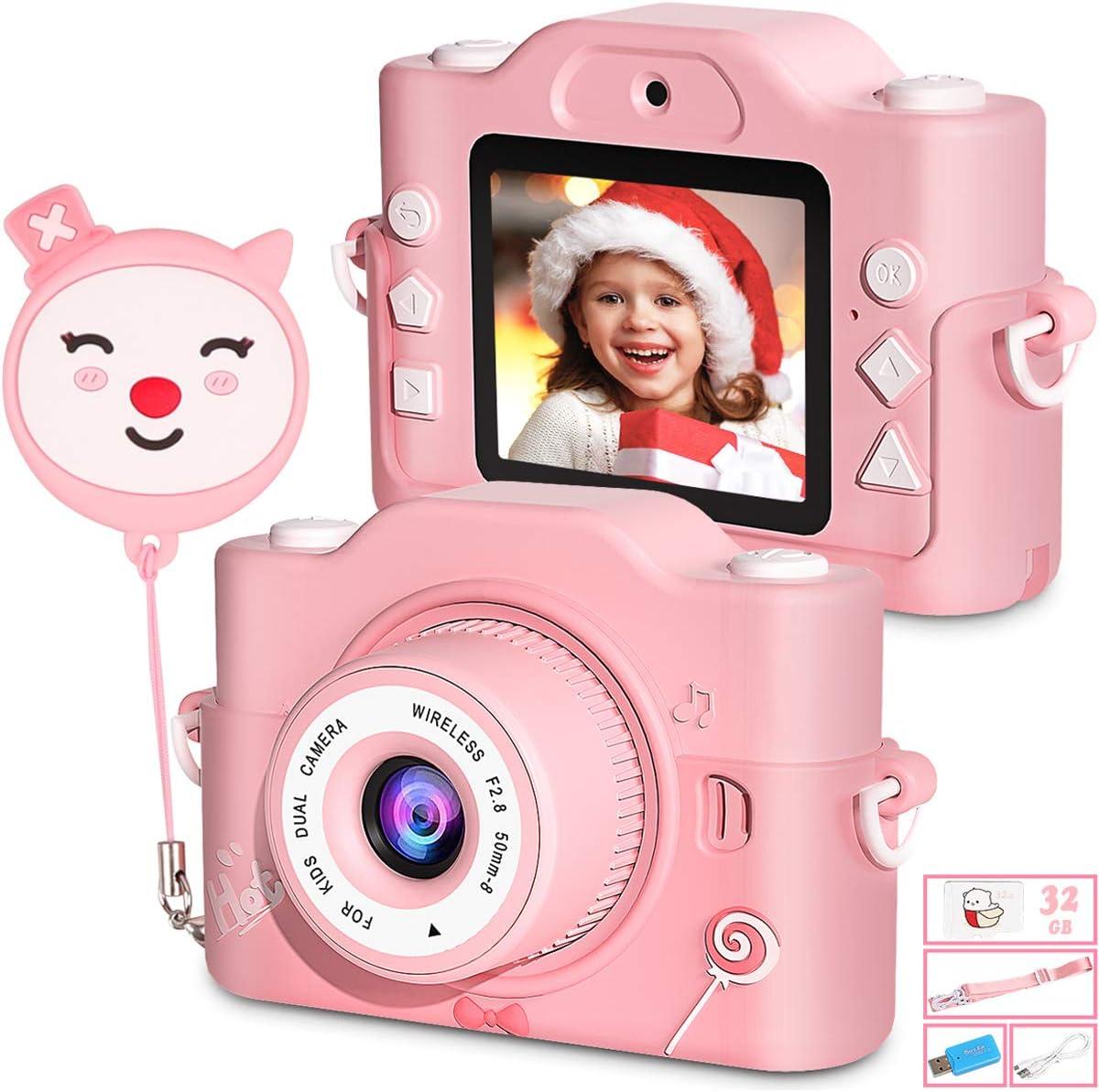 Camara Fotos Infantil, [Zoom Digital 8X/HD 20MP/1080P Pixels], Lente Doble y Diseño Anticaída de Carcasa de Silicona Doble, Regalo Ideal para Niñas de 3 a 10 Años, Incluye Tarjeta TF de 32 GB