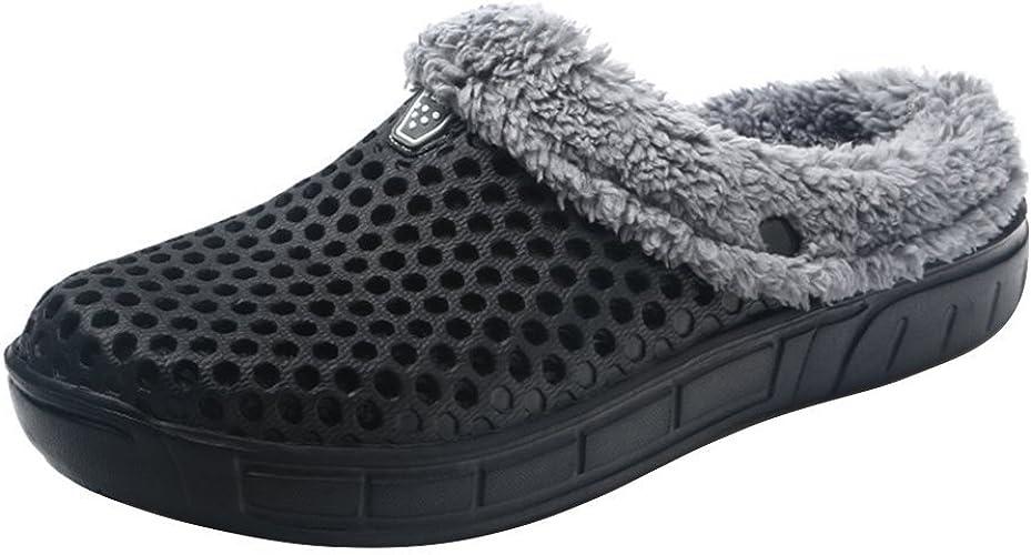 Zuecos Unisex Zapatillas de Invierno cálido Mulas Forradas Zapatos de jardín con Suela de Goma Antideslizante 37-45: Amazon.es: Zapatos y complementos