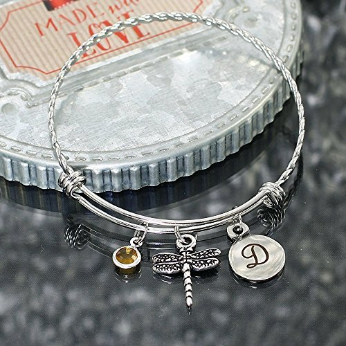 Dragonfly Expandable Stainless Steel Bangle Bracelet Personalized with Initial (Initials Stainless Steel Bracelet)