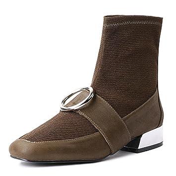 Mujeres Otoño e invierno Botas de punto Cabeza cuadrada Salvaje En las botas Calcetines Botas elásticas