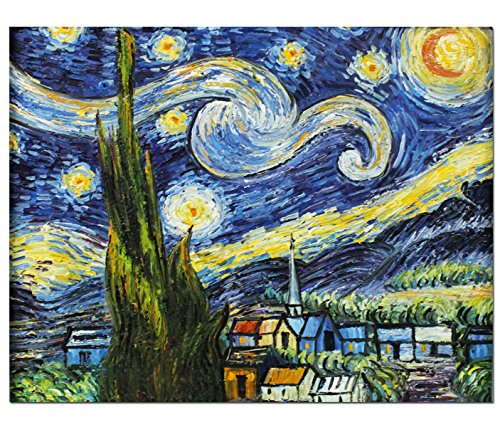 Fokenzary Hand Painted Oil Painting on Canvas Vincent Van Gogh Classical Starry Night Reproduction Wall Decor Framed Ready to (Night Oil Painting)
