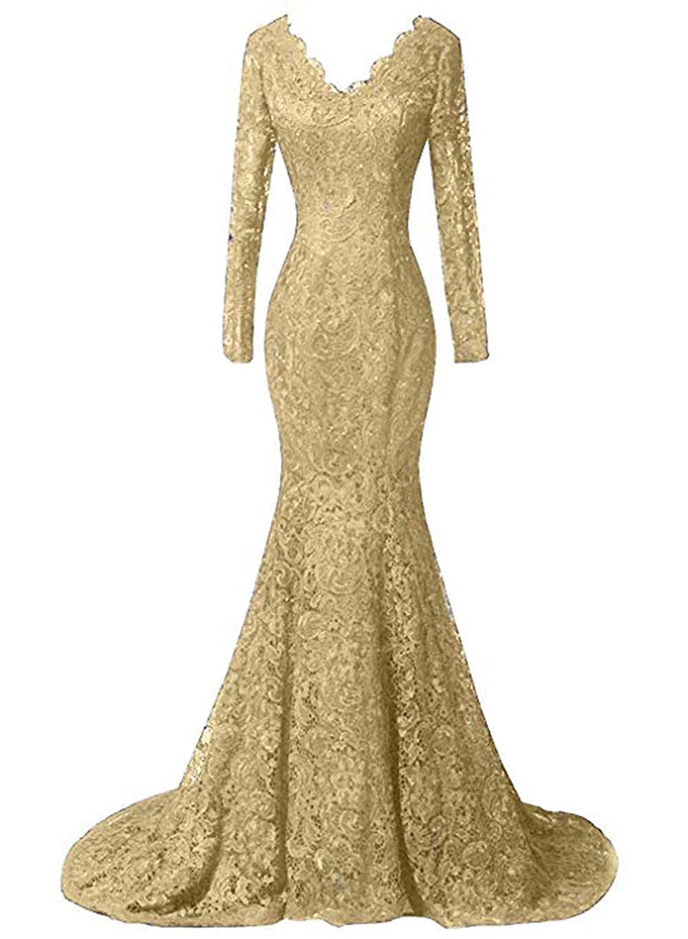 gold Ri Yun Women's Elegant Long Sleeves Lace Prom Dresses Mermaid VNeck Beaded Formal Evening Party Gowns