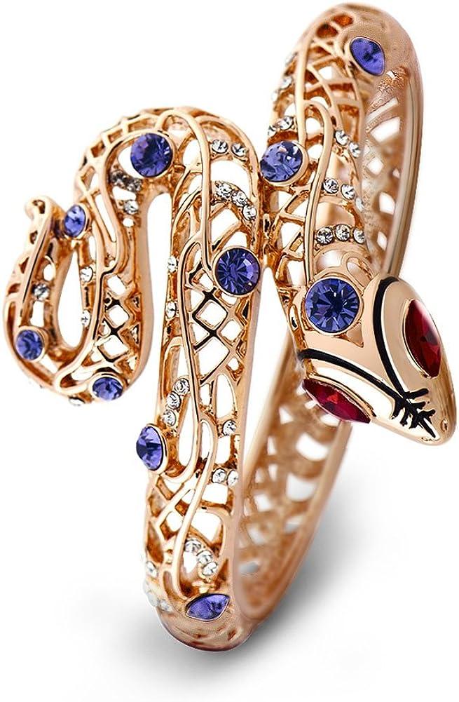 Viennois Oro Rosa Pulsera De Cristales, Color Rosa y Morado, diseño de Serpiente Pulsera