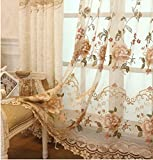 AiFish Luxury Rustic Floral Sheer Curtains Embroideied Peony Tulle Voile Curtain Panels European Rod Pocket Bedroom Curtains for Living Room/Sliding Glass Door 1 Panel 52 Inch Wide by 63 Inch Long For Sale