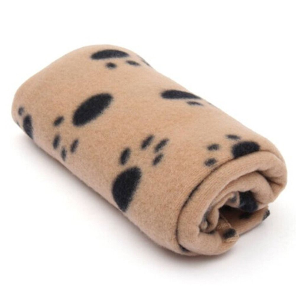 DAYNECETY 1pc Pet Soft Blanket Winter Warm Paw Print Dog Cat Puppy Kitten Bed Blanket Small Medium Large (M, Brown bottom-black claw)