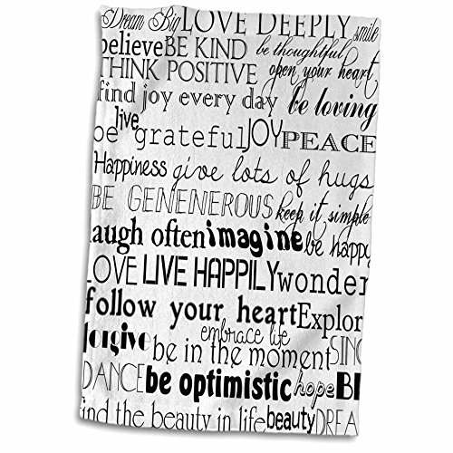 3D Rose Black and White Inspirational Words TWL_201478_1 Towel, 15