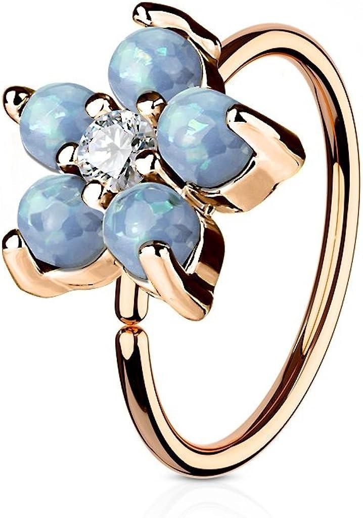 Rose Gold IP Plated Opal Glitter Set Flower Petals CZ Center 316L Surgical Steel WildKlass Hoop Ring for Nose & Ear Cartilage