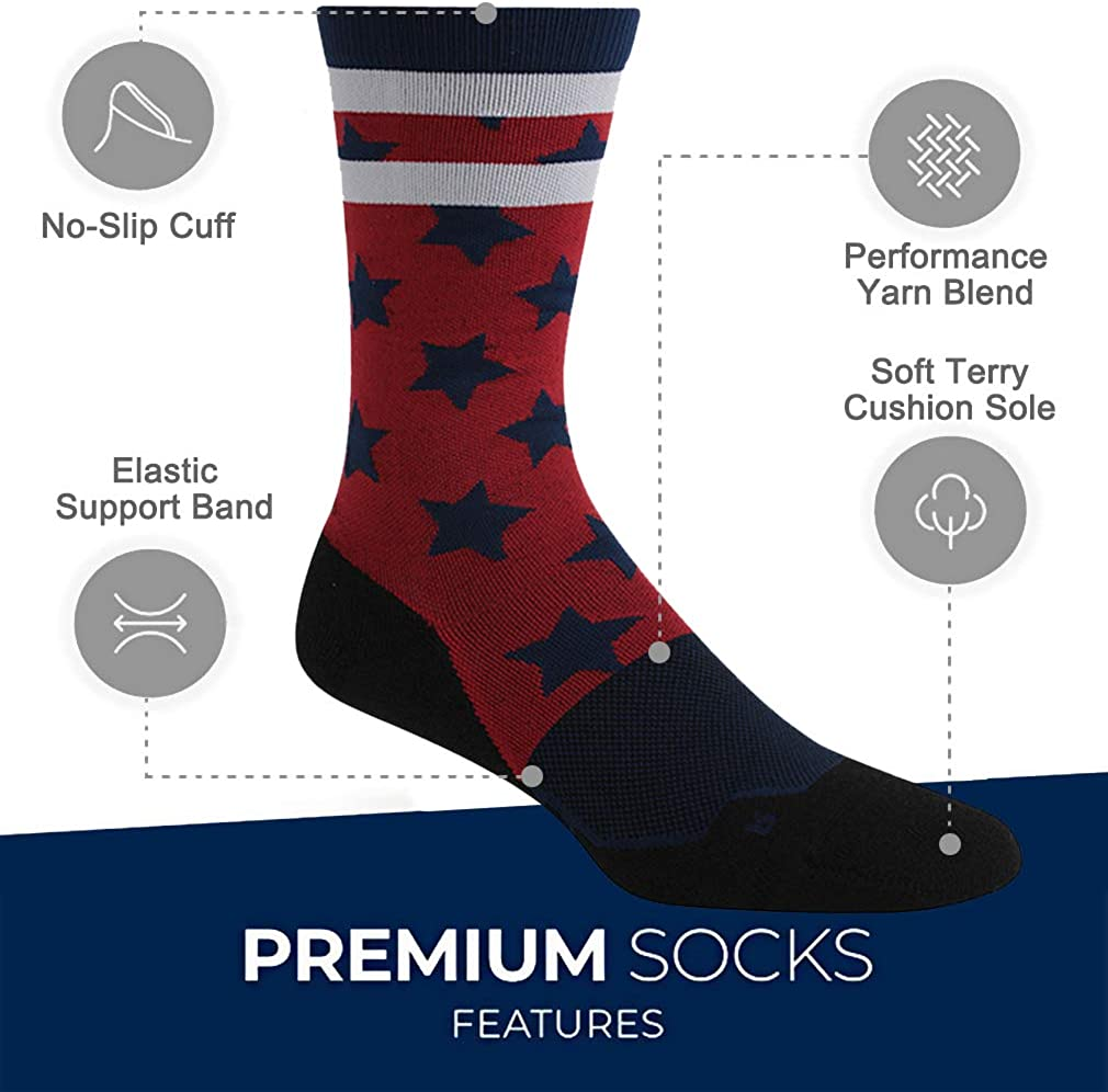 American Flag Socks for Men or Women Patriotic USA Freedom Socks for Memorial Day and 4th of July 8 Pairs