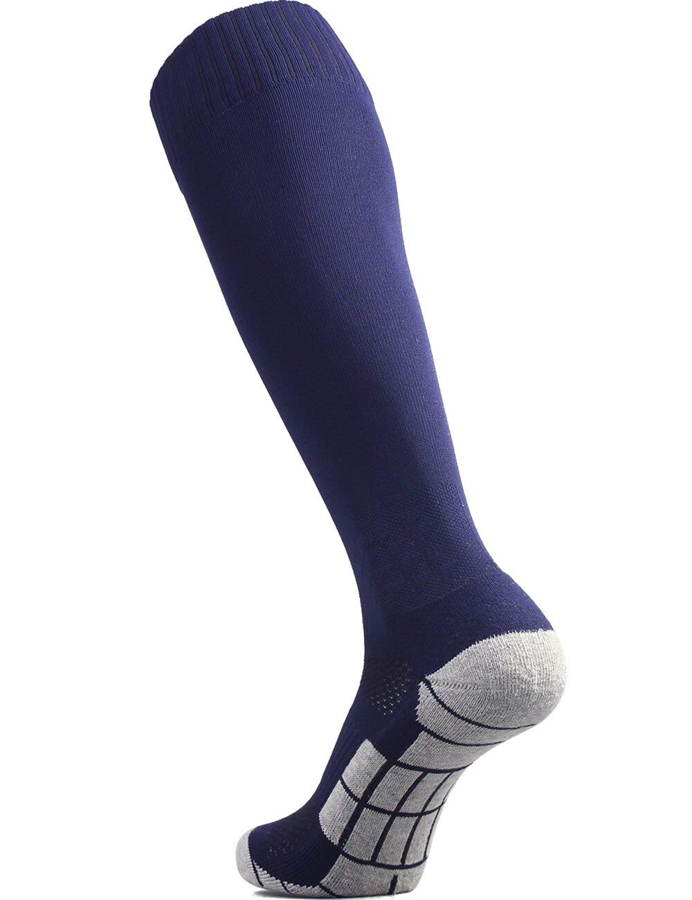 CWVLC Soccer Socks Mens Womens Rugby Sport Softball Team Athletic Knee High Long Tube Cotton Compression Socks Navy Blue Large (10-13 Women/8-12 Men) by CWVLC