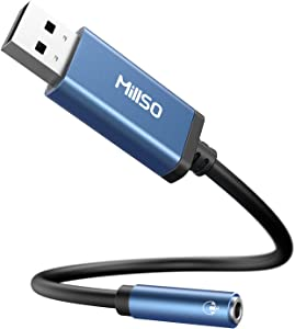 MillSO USB to 3.5mm Audio Jack Adapter, Sapphire Blue TRRS USB to AUX Audio Jack External Stereo Sound Card for Headphone, Speaker, Mac, PS4, PC, Laptop, Desktops - 1 Feet