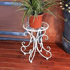 Estante de flor de hierro, estilo europeo estante de flor retro piso sola maceta balcón balcón macetas minimalistas blanco, negro, bronce ( Color : White )