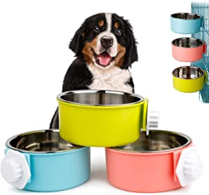 SYNARA Crate Dog Bowl,Removable Stainless Steel Hanging 2-in-1 Pet Cage Bowl Water Food Feeder,for Cat Puppy and Small Animals Dog Crate Bowl,Anti-Tipping