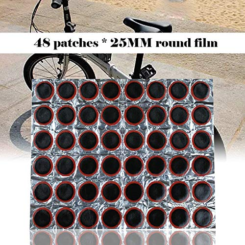 sahnah 48Pcs Tire Patch Film Universal Bicycle Engine Electric Car Tire Tire Rubber Patch Piece Cycling Puncture Repair Tools Kits