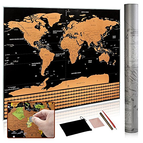 Scratch Off World Map - Scratch Off Travel Map with US States & Country Flags- Large Deluxe Edition with Black Background & Gold Foil - Personalized Accessories - Best Gift For Travelers – GoExplorers by Go Explorers