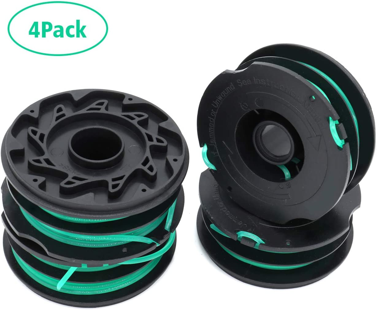 TIOIT DF-080 Trimmer Replacement Spools Compatible with Black Decker GH1000 GH1100 GH2000 Weed Eater String, DF-080 Spool Line Refills, Dual Line Edger Parts 30ft 0.080 inch (4Pack spools)