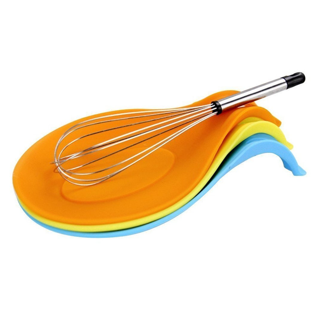 Gluckliy Multipurpose Silicone Cutlery Spatula Spoon Rest Holder Cooking Utensil Kitchen Tool, Orange fangqiang