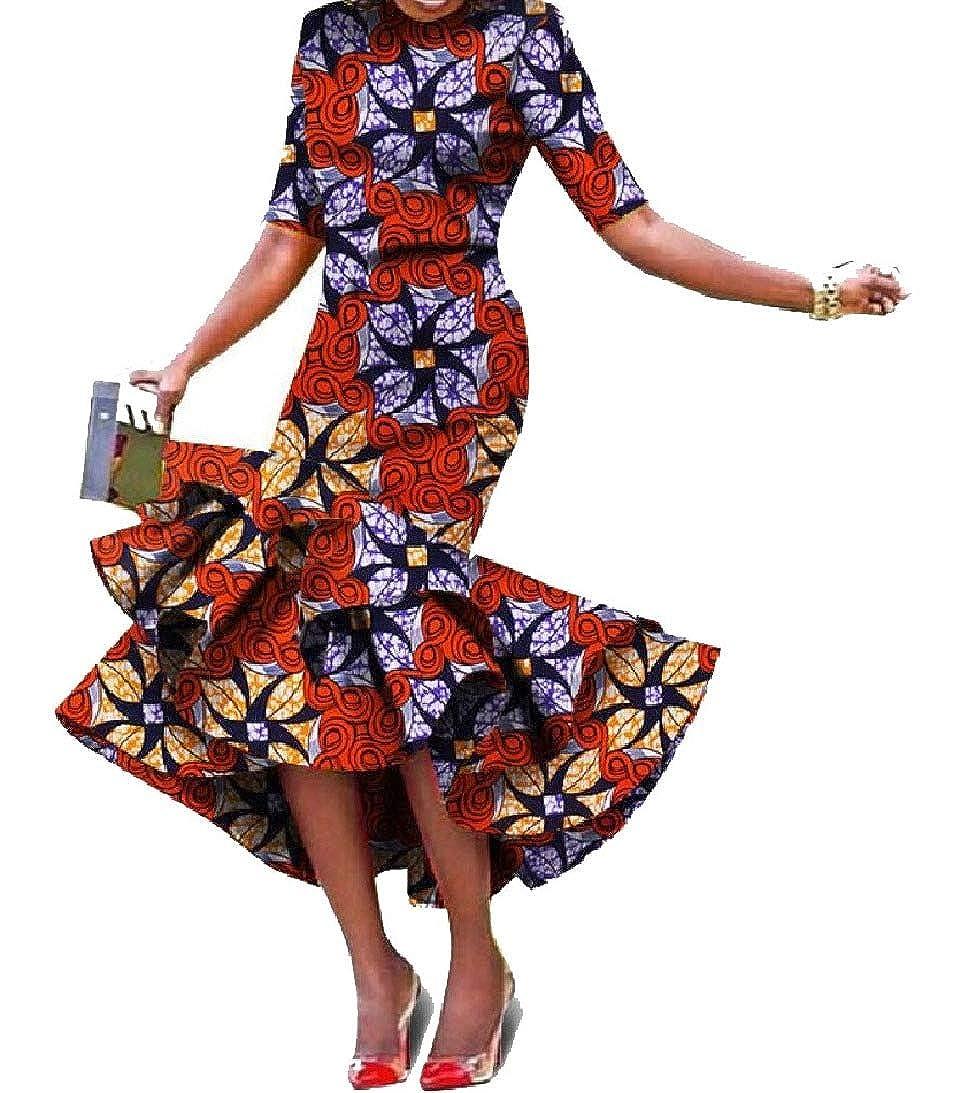 Pattern28 Zimase Womens Ethnic Various Hem Short Sleeve Ball Gown Dashiki Full Length Dress