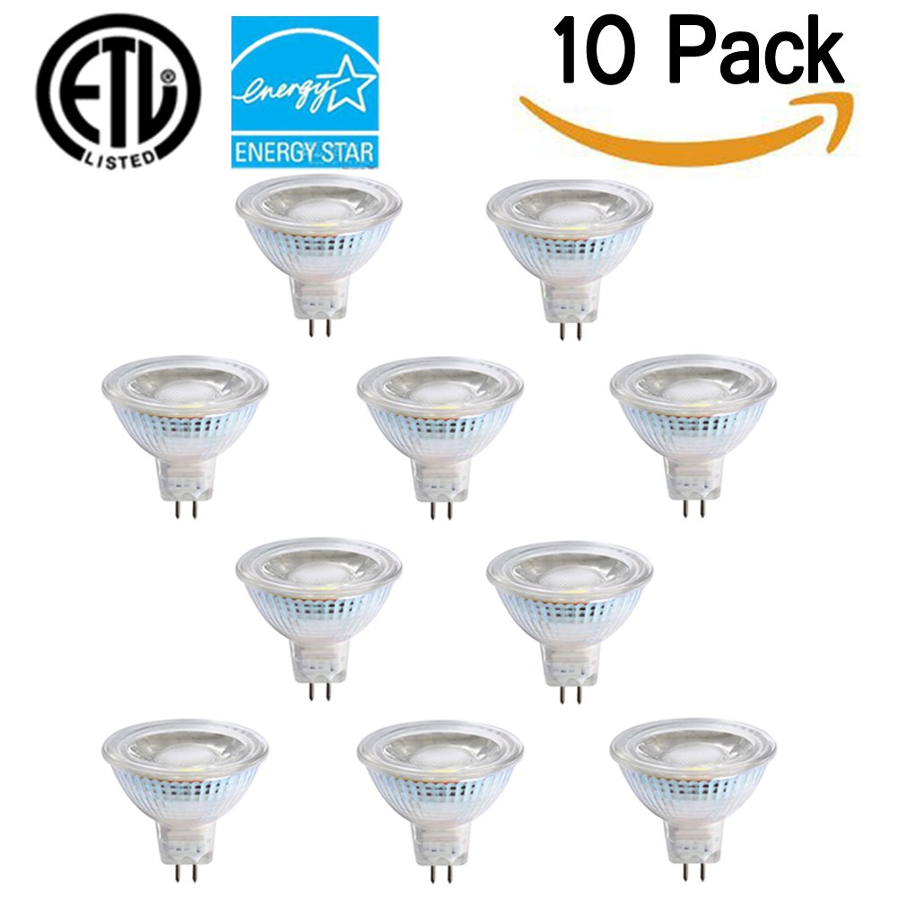 Energy-SL Waterproof Glass Cover MR16 LED 5W(50W Halogen Bulbs Equivalent Replacement) Recessed Downlight LED Light Bulbs 12V 2700K Warm White CRI 80+ 450 Lumen LED Spotlight Pack of 10