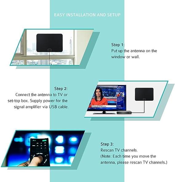 Antena de TV, Pictek Amplificador Antena Interior HDTV - 80KM gama de recepción, 25dBi , 3m cable alto rendimiento, Amplificador de Señal Removible - ...