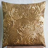 "Designer Gold Euro Shams Covers, 26""x26"" Euro Pillow Cases, Spiral Sequins Euro Pillow Shams, Silk Euro Shams, Geometric Modern Euro Shams - Golden Touch"