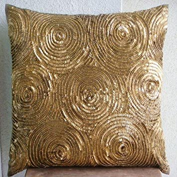 Designer Gold Throw Pillows Cover For Couch, Spiral Sequins Pillows Cover,  20u0026quot;x20u0026quot