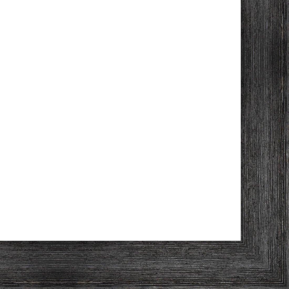 Picture Frame Moulding (Wood) 18ft bundle - Distressed/Aged Black Finish - 2'' width - 1/2'' rabbet depth