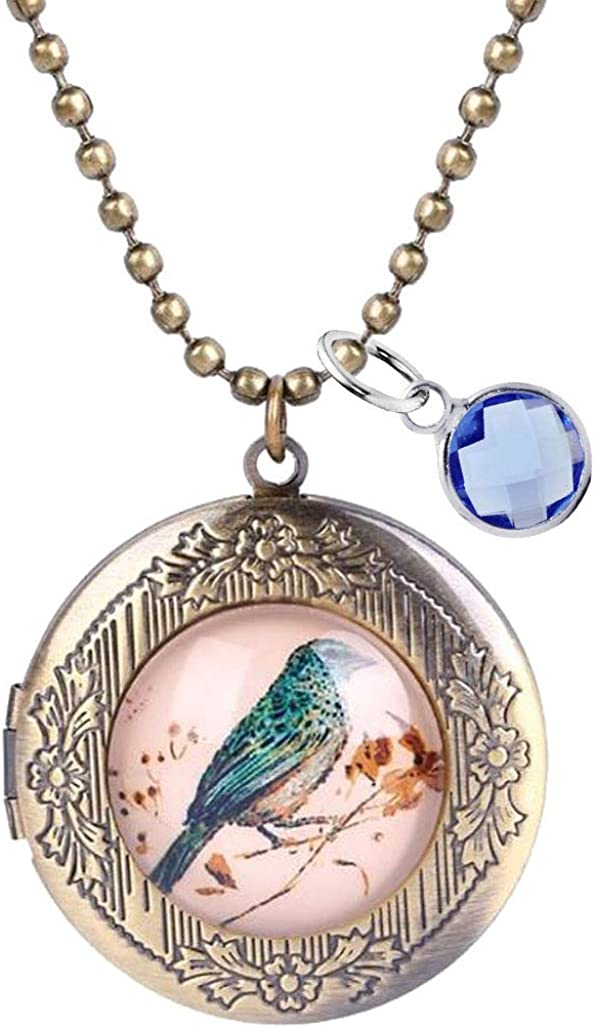 Retro Magpie Bird Flower Pendant Lockets Necklace with September Birthstone Crystal Silver Plated