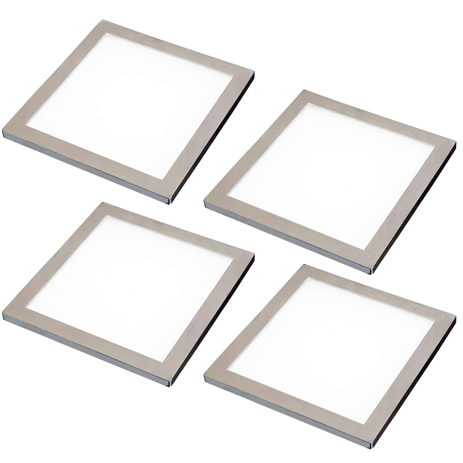 4X LED Under Cabinet/Cupboard Square Panel Kitchen Light & Driver Kit - Brushed Nickel Finish - Natural/Cool White Lighting Beam - Recessed/Flush Mounted - Counter/Worktop Down Lights - Loops