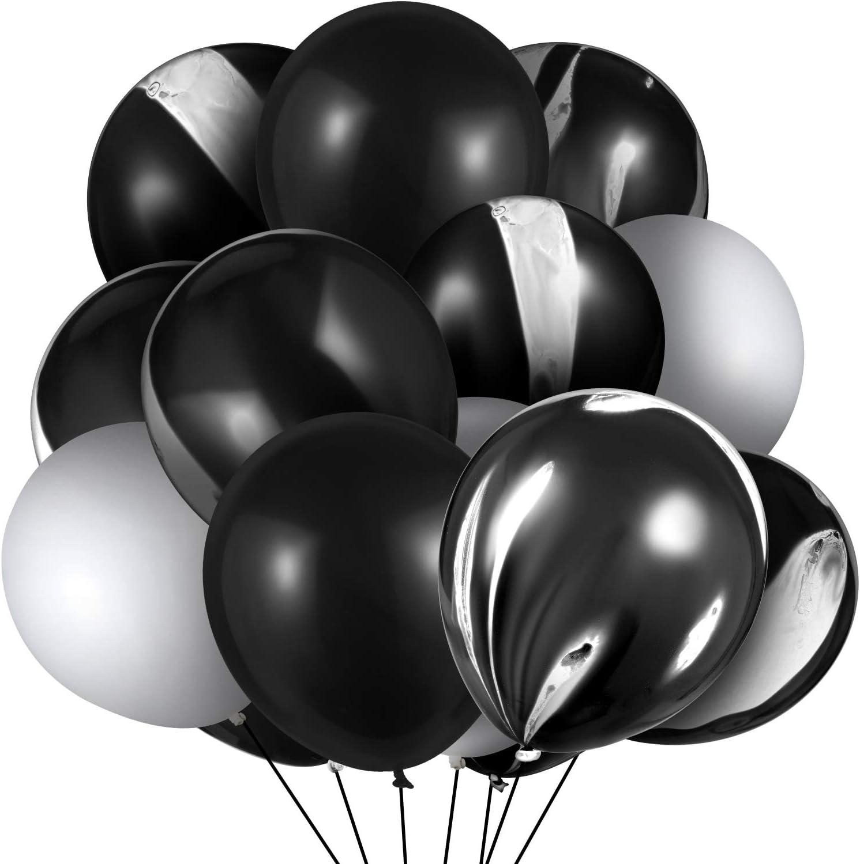 BlackWhite Marble Party Balloons  Set of 8