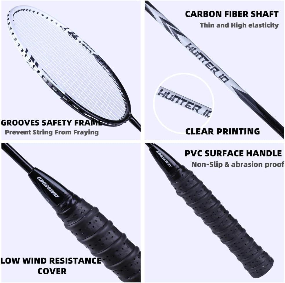 MAIBOLE Light Weight Badminton Racket Set 2 Pcs Carbon Fiber Badminton Racquet Sets High Tension Badminton Bat with Carrying Bag 2 Grip Rubber 3 Shuttlecocks