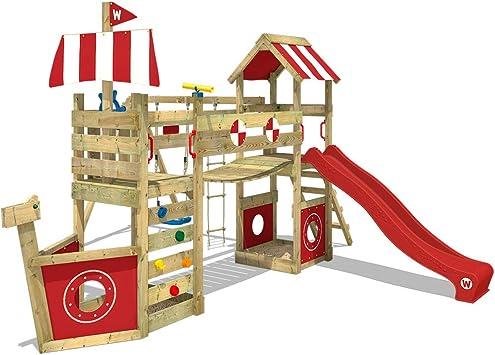 WICKEY Parque infantil de madera StormFlyer con columpio y tobogán rojo, Casa de juegos de jardín con arenero y escalera para niños: Amazon.es: Bricolaje y herramientas