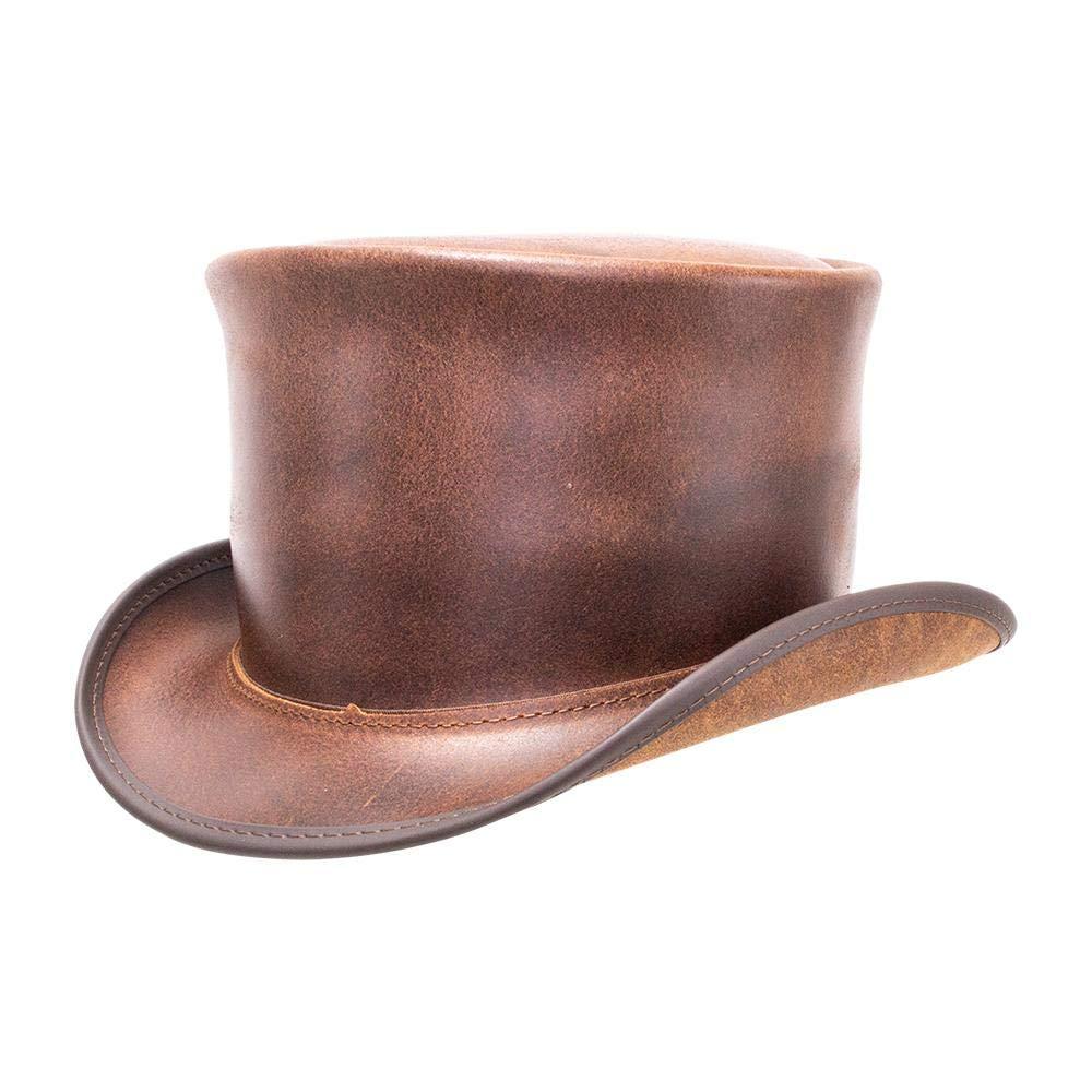 Voodoo Hatter El Dorado-Unbanded by American Hat Makers Leather Top Hat, Brown-Unbanded - Large