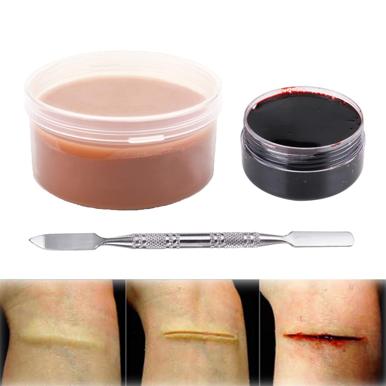 MEICOLY Makeup Skin Wax Special Effects Halloween Set Stage Fake Wound Scar,Molding Scars Wax with Spatula,Coagulated Blood Gel,01