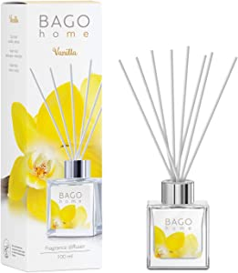 BAGO home Fragrance Oil Reed Diffuser Set with Sticks - Vanilla | Vanilla, Heliotrope & Musk Notes | 100 ml 3.4 oz | Great Home, Office & Room Décor