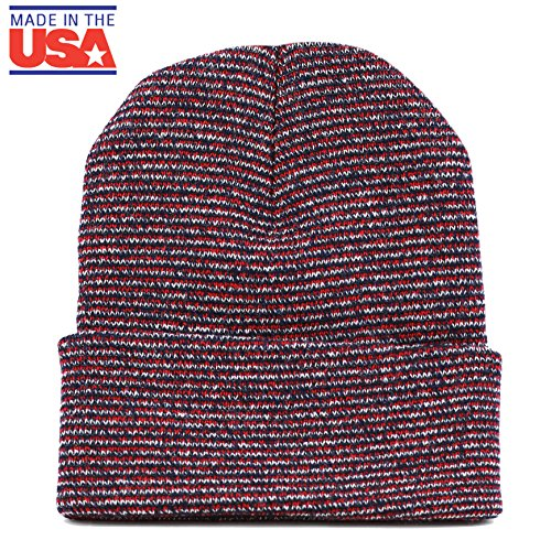 The Hat Depot 1800F902 Made In USA Unisex Two Tone Cuff Beanie Skull Cap (Red-White-Navy)